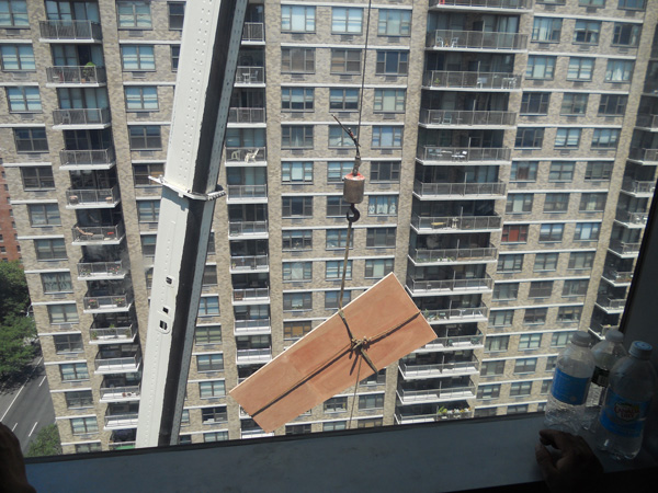 NYC large sliding door in high rise