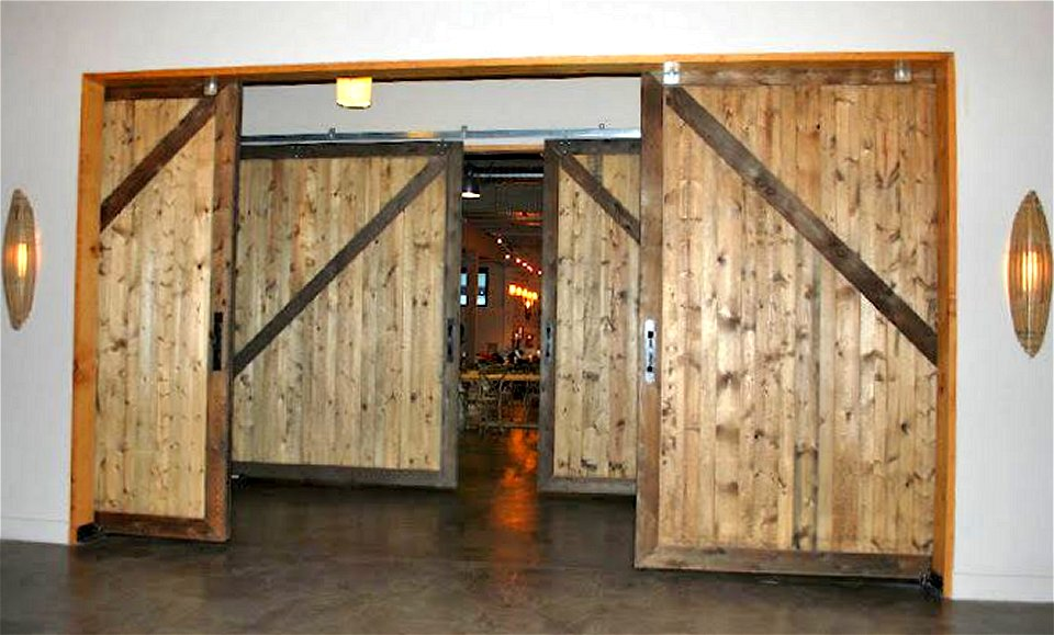Large Sliding Barn Doors Interior Restaurant Design Lounge Space Dividers  And Noice Cancelling