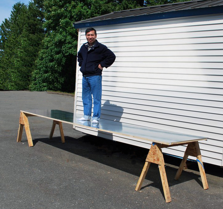 large sliding door strength demonstration in inch thick 13 ft long little or no deflection