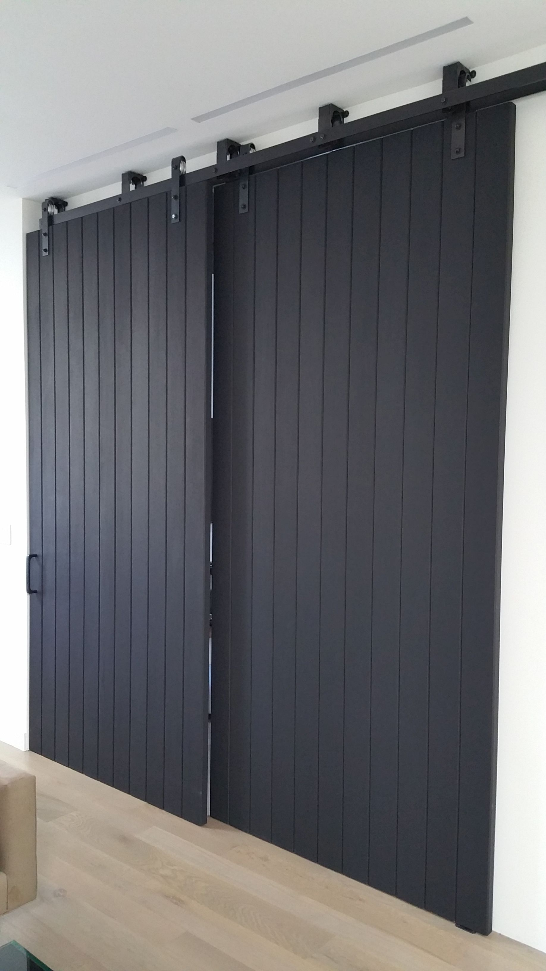 Double sliding barn doors large sliding doors for Black sliding glass doors